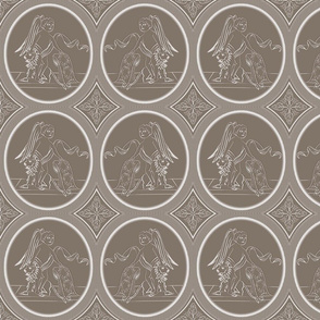 Grisaille Chestnut Brown Neo-Classical Ovals