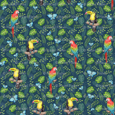 Tropical Toucan Macaw Butterflies on navy