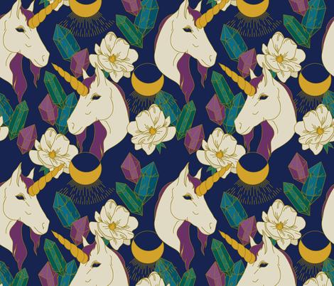 Magic Unicorn Garden fabric by musingtreedesigns on Spoonflower - custom fabric