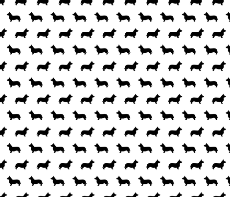 Corgi Black White Silhouettes fabric by mariafaithgarcia on Spoonflower - custom fabric