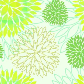 Yellow & Green Spring Flowers Pattern - Abstract Peonies On White Background