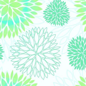 Blue & Green Spring Flowers Pattern - Abstract Peonies On White Background