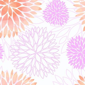 Pink Spring Flowers Pattern - Abstract Peonies On White Background