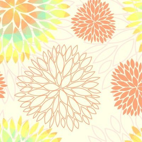 Rainbow Spring Flowers Pattern - Abstract Peonies On White Background