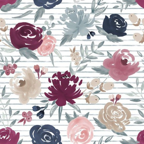 """Sand Berry"" Watercolor Floral on Dusty Blue Stripes (Plum, Mauve, Navy, Dusty Blue and Sand)"