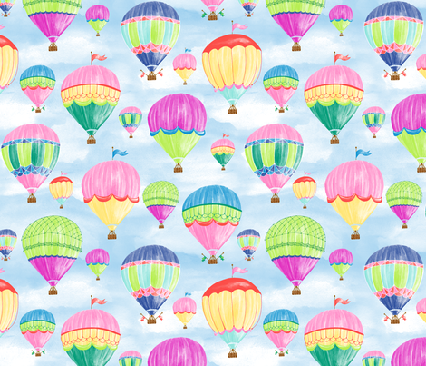 Hot Air Balloons - jewel fabric by jillbyers on Spoonflower - custom fabric