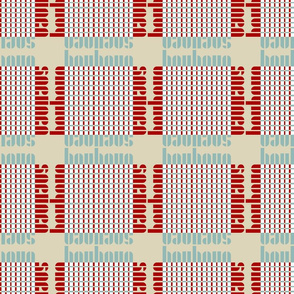 bauhaus plaid - tan/mint/red