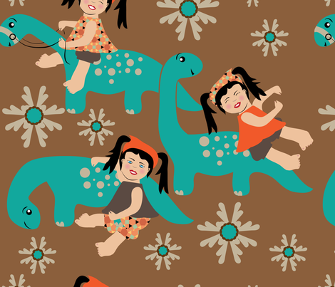 Dino Loves Miss  Princess Awesome, Large Print, Stem, dinosaur,  girl fabric by applebutterpattycake on Spoonflower - custom fabric