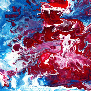 Red and blue fluid art fantasy
