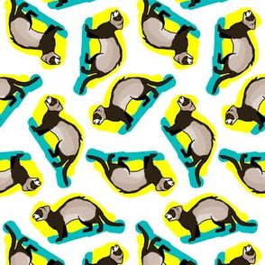 50s Style Ferrets on Blue and Yellow