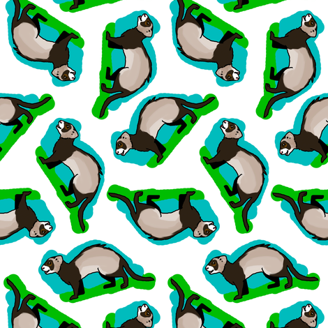 50s Style Ferrets on Blue and Green fabric by eclectic_house on Spoonflower - custom fabric
