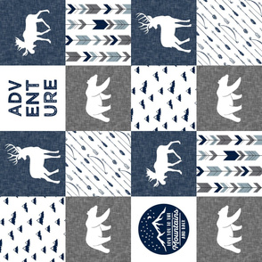 love you to the mountains and back - navy and grey - adventure patchwork (90)