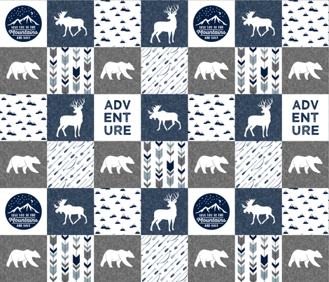 love you to the mountains and back - navy and grey - adventure patchwork fabric by littlearrowdesign on Spoonflower - custom fabric