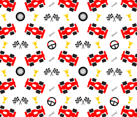 In The Fast Lane fabric by vintage_style on Spoonflower - custom fabric