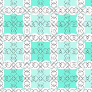 Mint Jade Green Grid with Scroll Fl