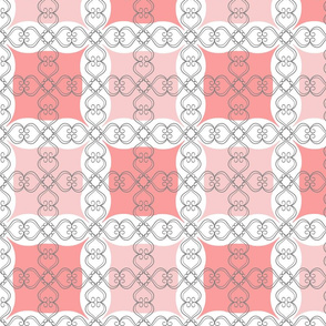 Coral Blush Pink Grid with Scroll Flo