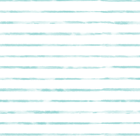 Aqua  / Teal Blue Watercolor Stripe fabric by sweeterthanhoney on Spoonflower - custom fabric