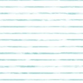Aqua  / Teal Blue Watercolor Stripe