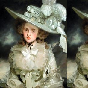 Marie Antoinette inspired silver white gowns baroque victorian bows big hat feathers beautiful lady woman shabby chic tulle shawl vintage shabby chic antique beauty rococo portraits  elegant gothic lolita egl 18th century neoclassical  historical romantic