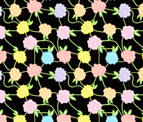 Flowers and Vines, Black fabric by bambi_illustrates on Spoonflower - custom fabric