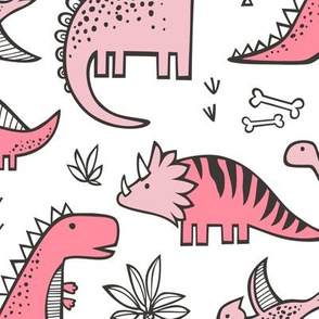 Dinosaurs in Pink Large