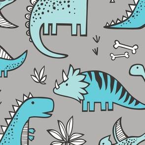 Dinosaurs in Aqua Light Blue on Grey Large