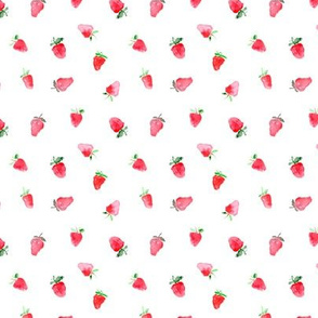 Baby strawberries, tiny scale || watercolor pattern for nursery