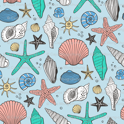 Seashells Nautical Ocean Shells Peach Mint Green Blue on Blue