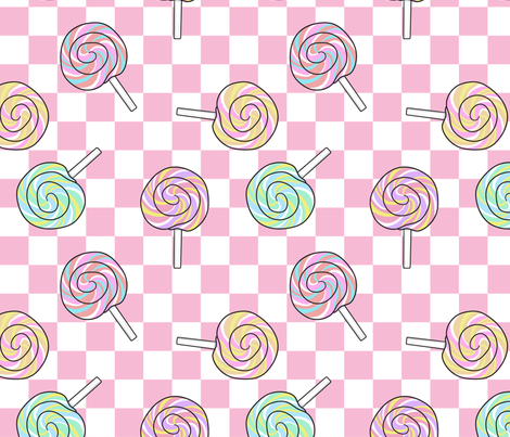 Lollipops, Pink Check fabric by bambi_illustrates on Spoonflower - custom fabric