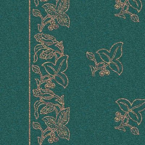 Embroidered-flower-border fabric - large 60 inches-wide -COPPER-GREEN-stencil-pattern-rotated-in-preview