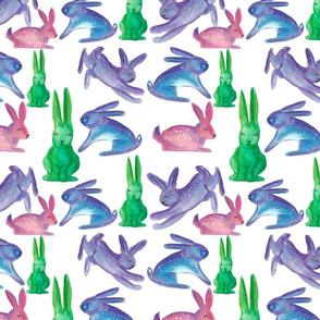 Watercolor colorful easter rabbits