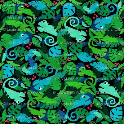 Chameleons in a green forest