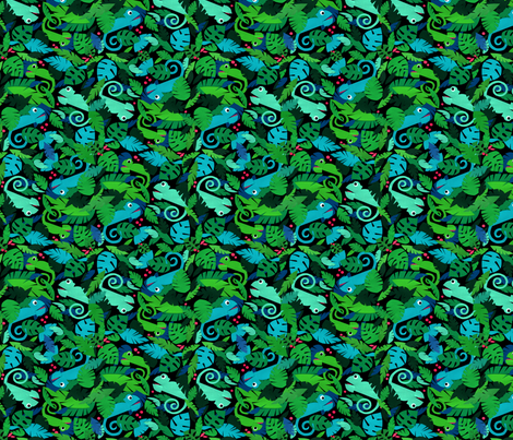 Chameleons in a green forest fabric by lucy_&_me on Spoonflower - custom fabric