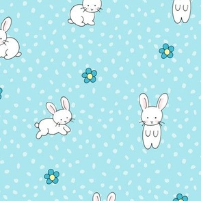 Cute White Bunnies and Flowers - blue