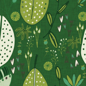 Emerald Forest Floral Cord dark text