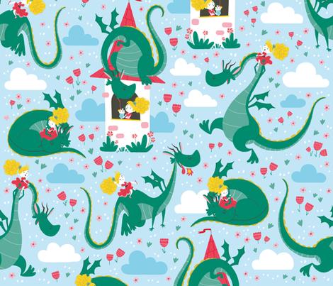 princess dragon pattern fabric by gnoppoletta on Spoonflower - custom fabric