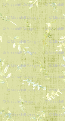 Watercolor Small Poppy Pods  Distress Sage Forrest Green White Leaf Leaves Texture