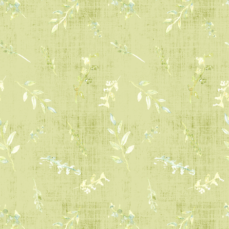 Watercolor Small Poppy Pods  Distress Sage Forrest Green White Leaf Leaves Texture  fabric by misschiffdesigns on Spoonflower - custom fabric
