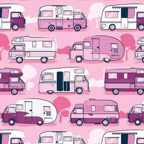 Home sweet motor home // camper vans on pastel pink background