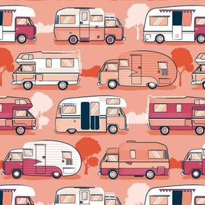 Home sweet motor home // camper vans on orange coral background