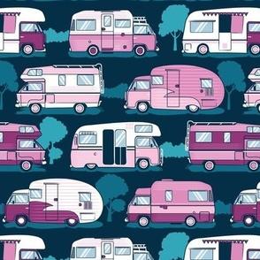 Home sweet motor home // pink camper vans on navy blue background