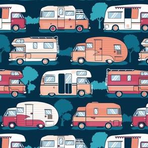 Home sweet motor home // orange coral and red camper vans on navy blue background