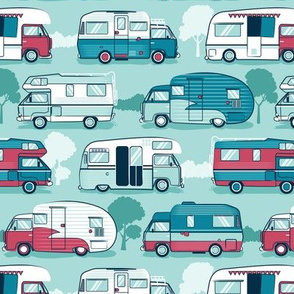 Home sweet motor home // camper vans on aqua background
