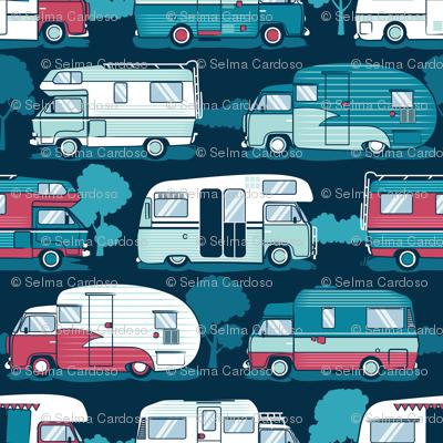 Home sweet motor home // aqua teal and red camper vans on navy blue background