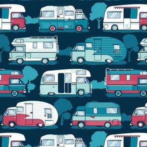 Home sweet motor home // aqua teal and red camper vans on navy blue background