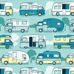 Home sweet motor home // yellow lime and teal camper vans on aqua background