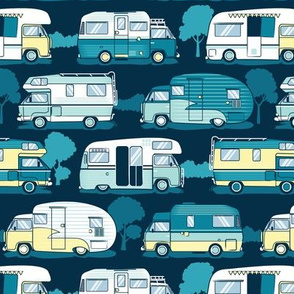 Home sweet motor home // yellow lime aqua and teal camper vans on navy blue background