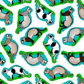 50s Style Assorted Ferrets on Blue and Green