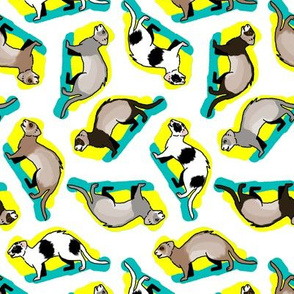 50s Style Assorted Ferrets on Blue and Yellow