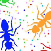 Confetti Ants in Rainbow + White